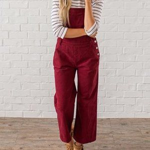 Fantastic Fawn Red Corduroy Button Overalls